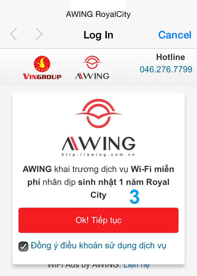 Thông báo Wifi Marketing của Awing tại các trung tâm thương mại
