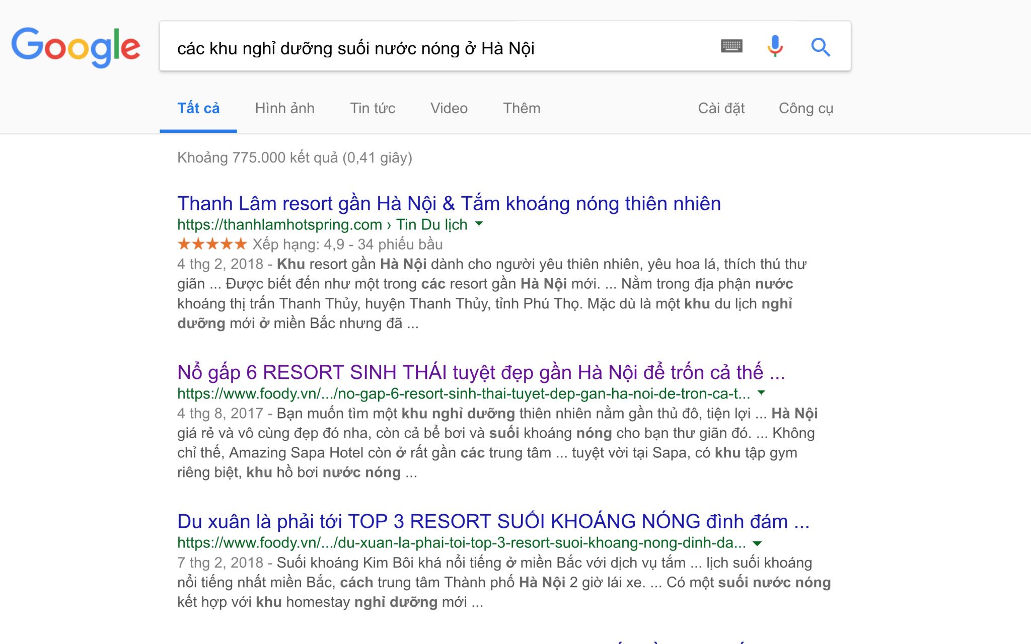 Kết quả khi tìm kiếm các khu nghỉ dưỡng suối nước nóng ở Hà Nội