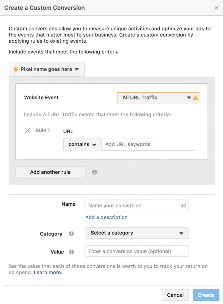Pixel Facebook là gì - Lựa chọn danh mục chuyển đổi