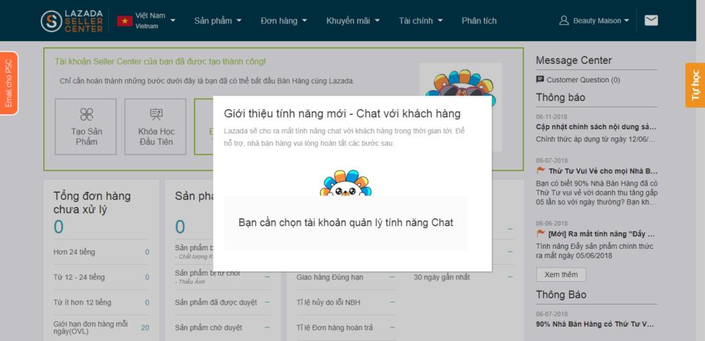 Đăng ký bán hàng trên Lazada - Chọn tài khoản quản lý tính năng chat