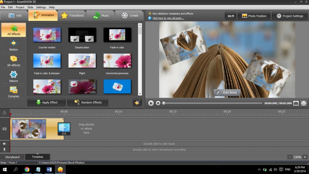 Phần mềm làm video miễn phí Smart Show
