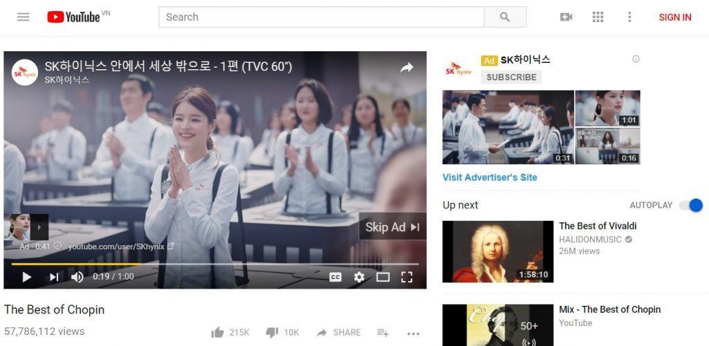 Các hình thức quảng cáo trên youtube Pre-roll