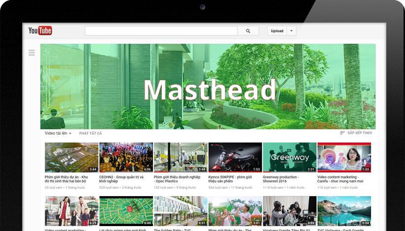 Các hình thức quảng cáo trên youtube Masthead