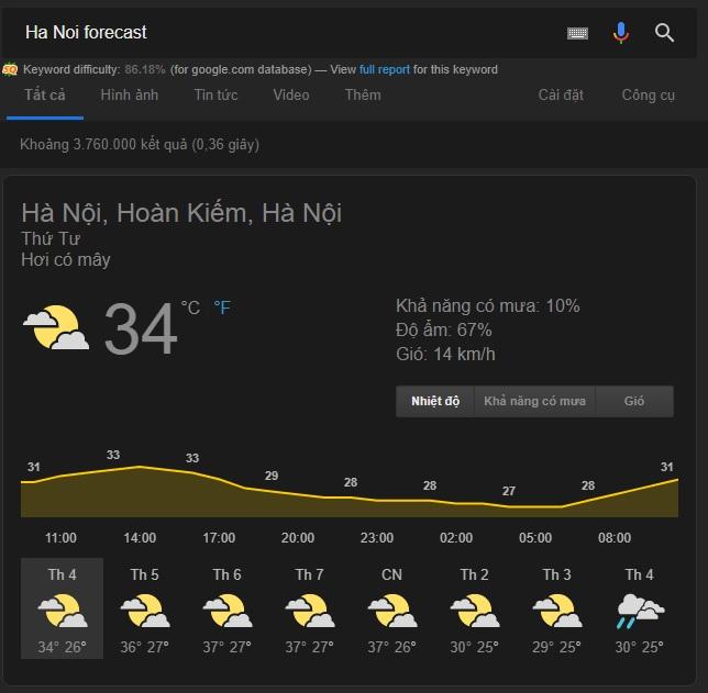 Kiểm tra thời tiết thành phố bất kì bằng google