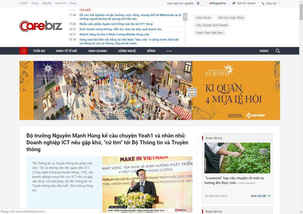 cafebiz báo thông tin điện tử dành cho doanh nhân