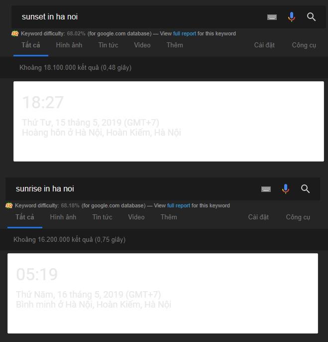 google kiểm tra thời gian mặt trời mọc, lặn