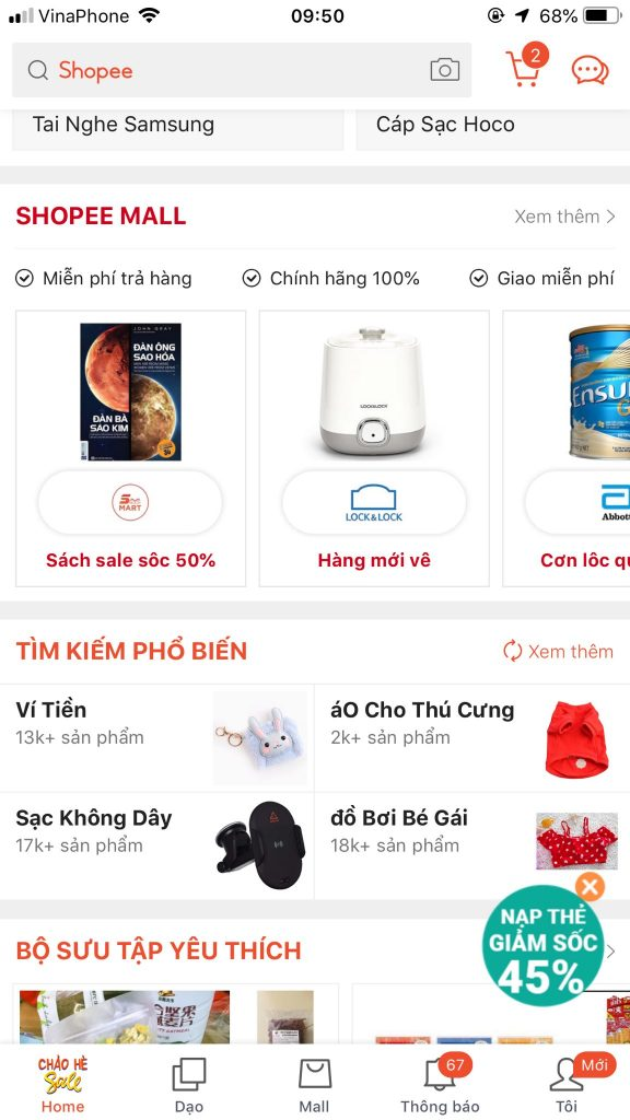Giao diện mobile Shopee mall
