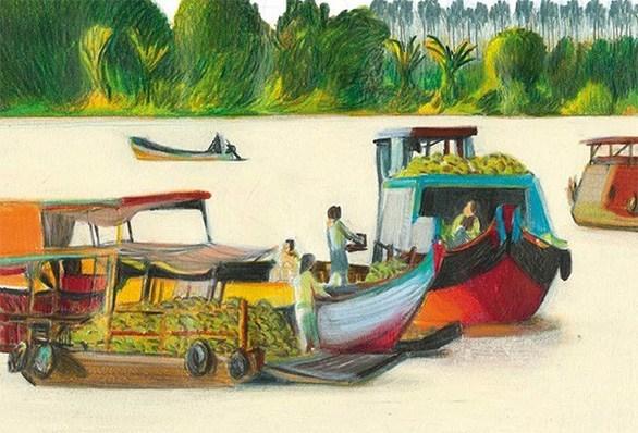 chợ trên sông mekong